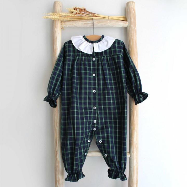 Green plaid baby Pyjama