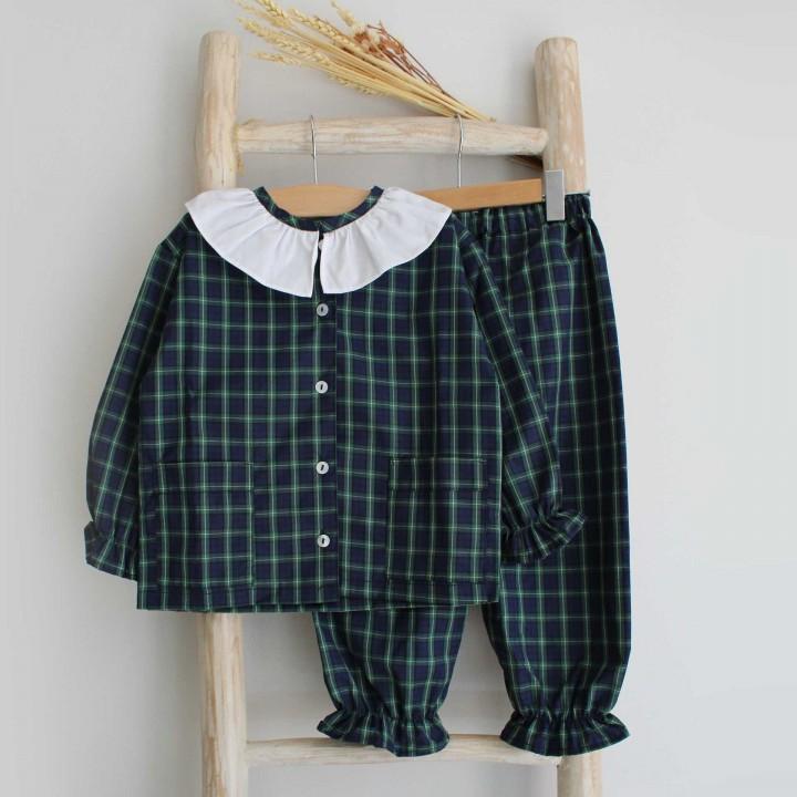 Pijama menina xadrez Verde