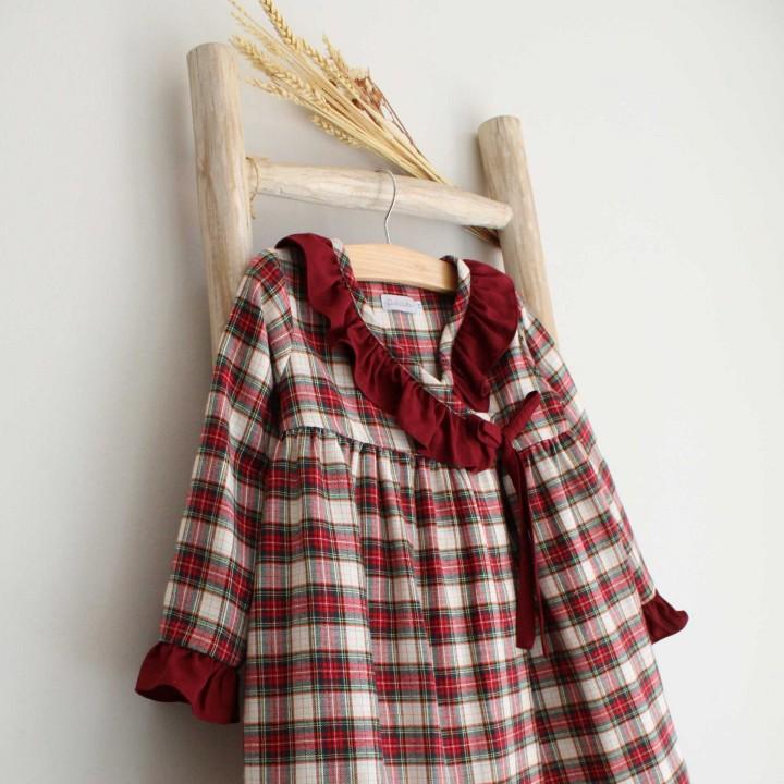 Robe menina Xadrez e Folho Bordeaux