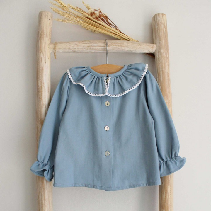 Blue Frilly collar shirt with lace trim