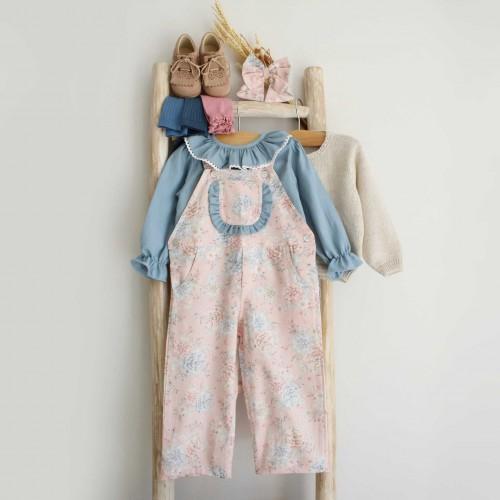 Pink Floral Overalls