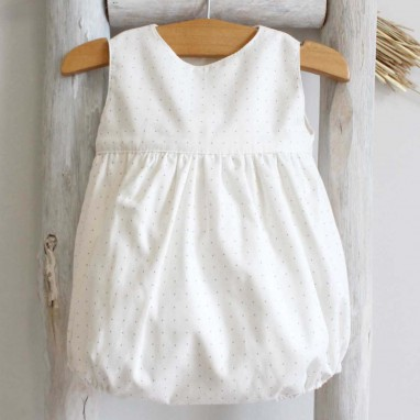 Sleeveless Romper with blue dots