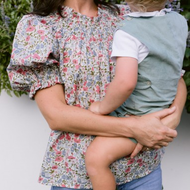 Liberty Floral Poppy and Daisy Mom Top