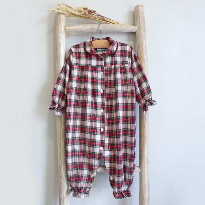 Pijama Bebé Xadrez Bordeaux