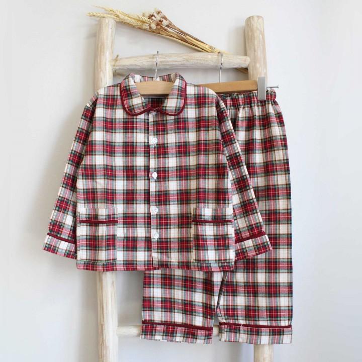 Pijama Rapaz Xadrez Bordeaux