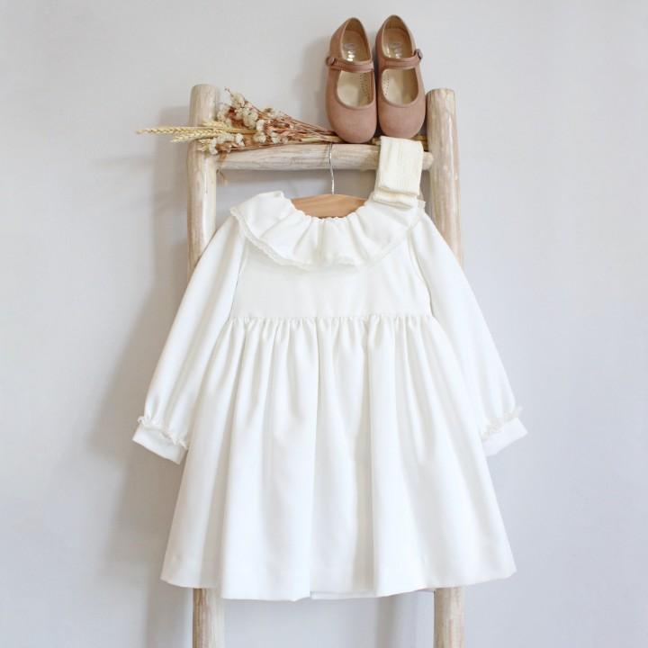 Ivory Frilly collar Dress