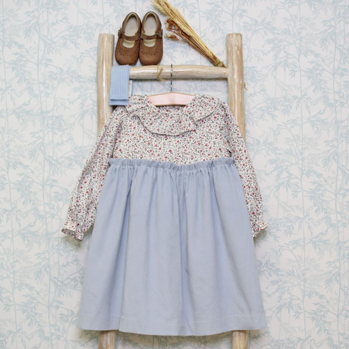 Floral dress with corduroy skirt