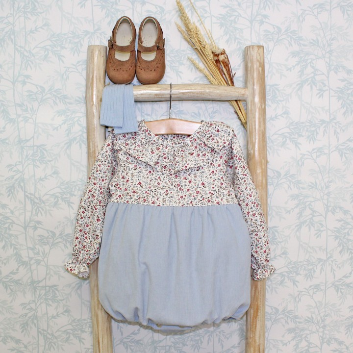 Corduroy and Floral Romper