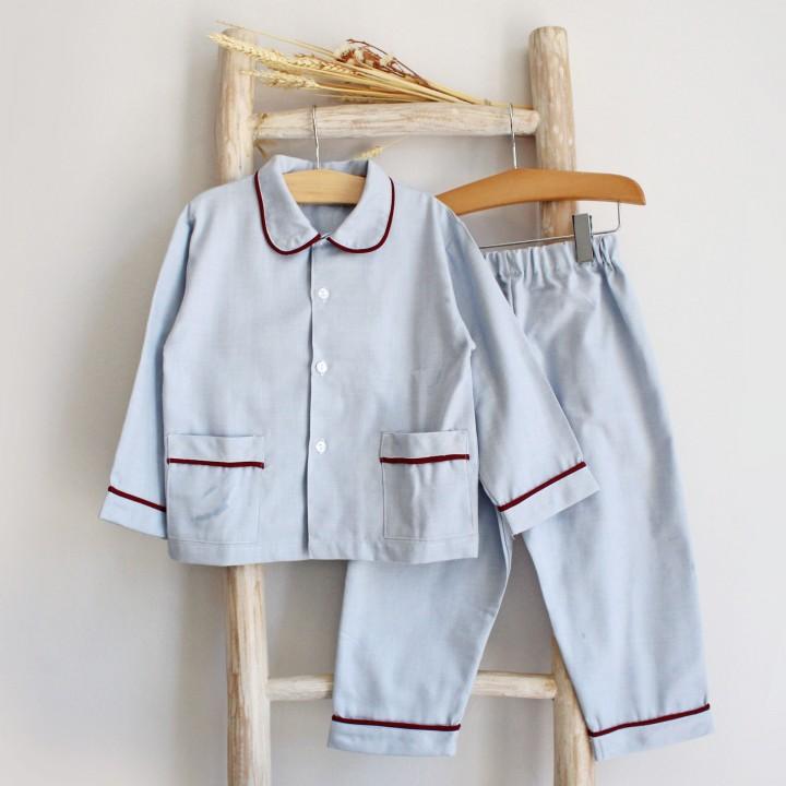 Blue Pyjama with Burgundy Trim