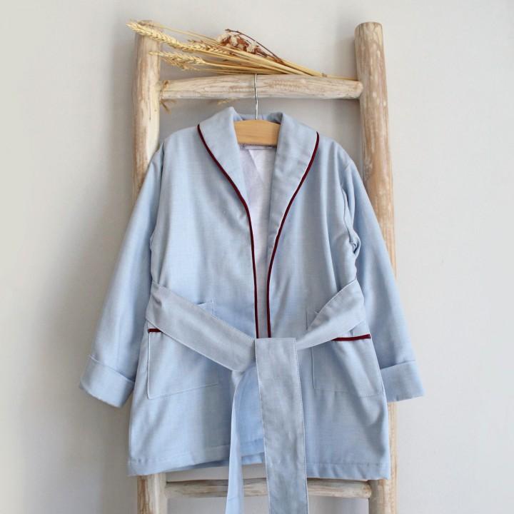 Blue Robe with Burgundy Trim