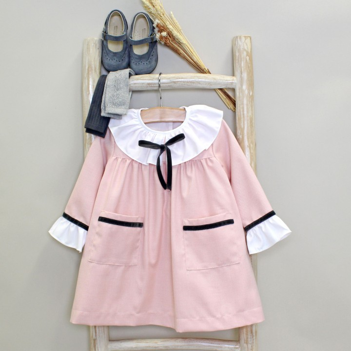 Pink Dress with Frilly Collar