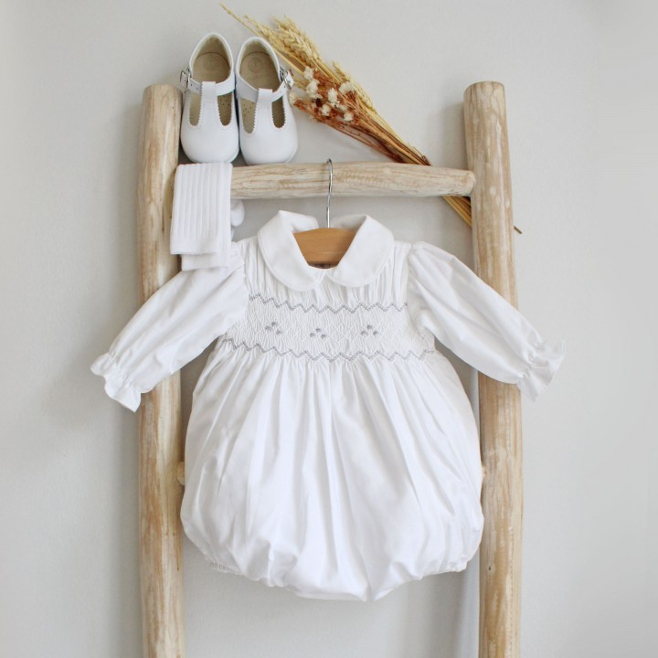 Peter Pan Collar Romper with Broidery
