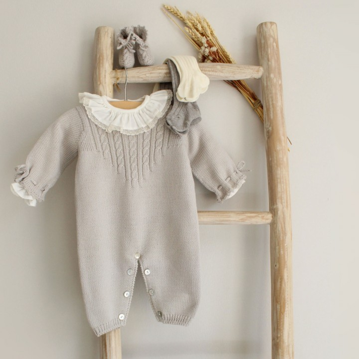 Grey Knitted Cable Romper