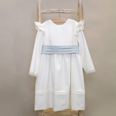 Ivory dress with ruffles on shoulders